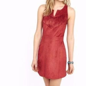 Express Faux Suede Fringe Dress Rust Color NWOT